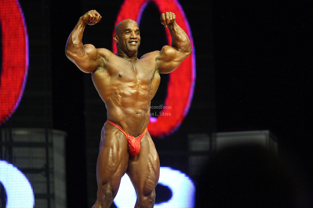 Darrem Charles on stage at the finals for the 2009 Mr. Olympia competition in Las Vegas.