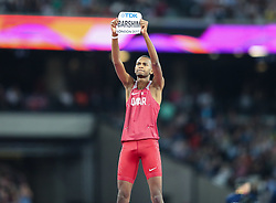 London, August 13 2017 . World champion the Mutaz Essa Barshim, Qatar, after winning gold in the men's high jump final on day ten of the IAAF London 2017 world Championships at the London Stadium. © Paul Davey.