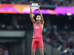 London, August 13 2017 . World champion the Mutaz Essa Barshim, Qatar, after winning gold in the men's high jump final on day ten of the IAAF London 2017 world Championships at the London Stadium. © Paul Davey.