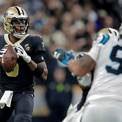 Dec 30, 2018; New Orleans, LA, USA; New Orleans Saints quarterback Teddy Bridgewater (5) against the Carolina Panthers during the second quarter at the Mercedes-Benz Superdome. Mandatory Credit: Derick E. Hingle-USA TODAY Sports