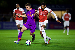 LONDON, ENGLAND - Friday, August 17, 2018: Liverpool's captain Matty Virtue and Arsenal's Zech Medley (right) during the Under-23 FA Premier League 2 Division 1 match between Arsenal FC and Liverpool FC at Meadow Park. (Pic by David Rawcliffe/Propaganda)