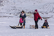 Inuit family in Ilulissat, Greenland