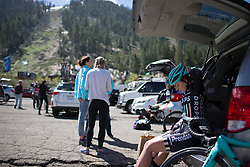 Hannah Payton (GBR) of Drops Cycling Team prepares for the first, 117 km road race stage of the Amgen Tour of California - a stage race in California, United States on May 19, 2016 in South Lake Tahoe, CA.