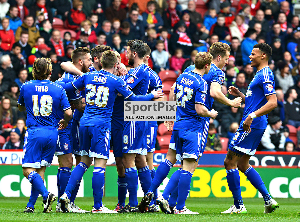 Daryl Murphy of Ipswich is joined by team mates to celebrate Ipswich's first goal at the Riverside.....(c) BILLY WHITE | SportPix.org.uk