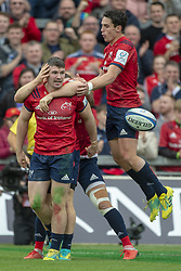 October 20, 2018 - Limerick, Ireland - Sammy Arnold of Munster celebrates scoring with Joey Carbery during the Heineken Champions Cup match between Munster Rugby and Gloucester Rugby at Thomond Park in Limerick, Ireland on October 20, 2018  (Credit Image: © Andrew Surma/NurPhoto via ZUMA Press)