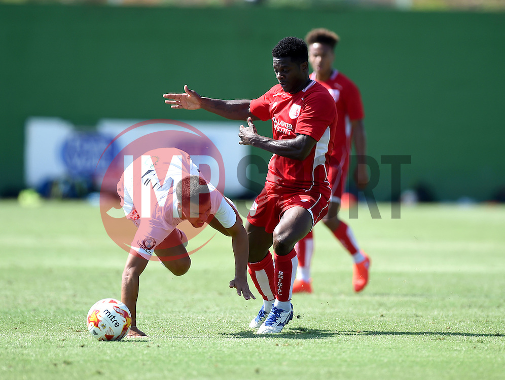 Kieran Agard of Bristol City battles for the ball  - Mandatory by-line: Joe Meredith/JMP - 22/07/2016 - FOOTBALL - La Manga Training Ground - La Manga, Murcia - UCAM v Bristol City - Pre-season friendly