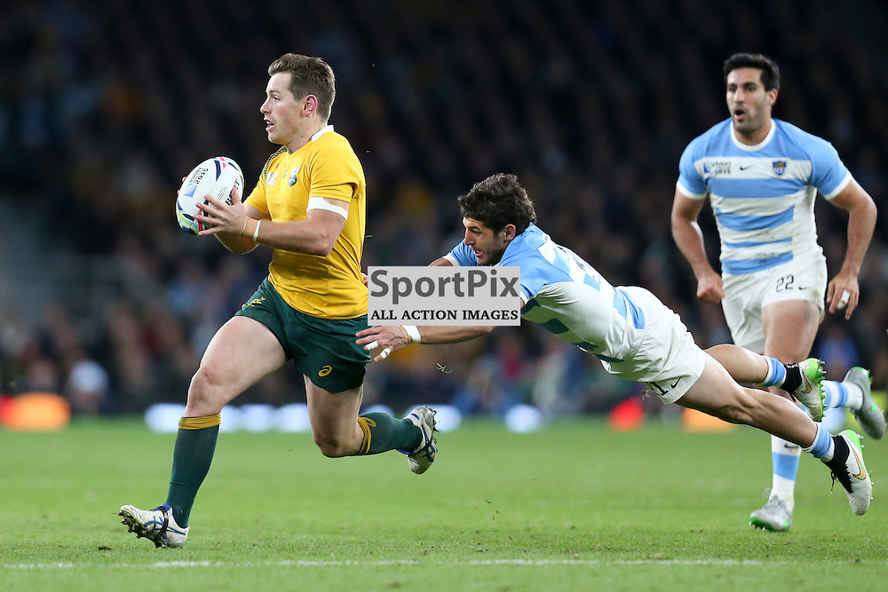 TWICKENHAM, ENGLAND - OCTOBER 25: Bernard Foley of Australia during the 2015 Rugby World Cup semi-final two match between Argentina and Australia at Twickenham Stadium, London on October 25, 2015 in London, England. (Credit: SAM TODD | SportPix.org.uk)