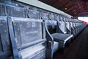A general view of Oakwell Stadium wooden seats before the EFL Sky Bet Championship match between Barnsley and Swansea City at Oakwell, Barnsley, England on 19 October 2019.