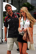 Apr 07, 2007 - Kuala Lumpur, Malaysia - Jenson Button (GBR) Honda Racing F1 Team with his new girlfriend Florence Brudenell-Bruce (GBR).  Formula One World Championship, Rd 2, Malaysian Grand Prix, Qualifying Day, Sepang, Malaysia, Saturday 7 April 2007.   (Credit Image:©Exclusivepix)