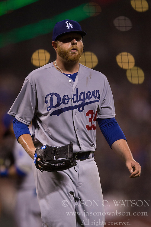 SAN FRANCISCO, CA - MAY 20:  Brett Anderson #35 of the Los Angeles Dodgers returns to the dugout after being relieved against the San Francisco Giants during the seventh inning at AT&T Park on May 20, 2015 in San Francisco, California.  The San Francisco Giants defeated the Los Angeles Dodgers 4-0. (Photo by Jason O. Watson/Getty Images) *** Local Caption *** Brett Anderson