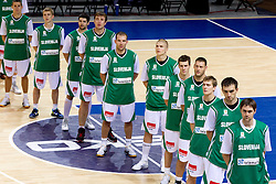 Jaka Lakovic of Slovenia, Luka Rupnik of Slovenia, Saso Ozbolt of Slovenia, Matjaz Smodis of Slovenia, Samo Udrih of Slovenia, Edo Muric of Slovenia, Goran Dragic of Slovenia, Goran Jagodnik of Slovenia, Zoran Dragic of Slovenia, Mirza Begic of Slovenia and Erazem Lorbek of Slovenia listening to the national anthem during basketball match between National teams of Slovenia and Georgia in Group D of Preliminary Round of Eurobasket Lithuania 2011, on September 3, 2011, in Arena Svyturio, Klaipeda, Lithuania. Slovenia defeated Georgia 87-75. (Photo by Vid Ponikvar / Sportida)