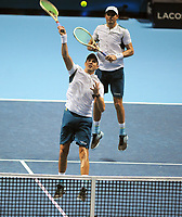 Tennis - 2017 Nitto ATP Finals  at The 02 - Day Two, Monday<br /> <br /> Jamie Murray and Bruno Soares v Bob Bryan and Mike Bryan (USA)<br /> <br /> Bob Bryan and Mike Bryan on their way to victory <br /> <br /> COLORSPORT/ANDREW COWIE