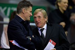 LIVERPOOL, ENGLAND - Wednesday, September 23, 2015: Liverpool's non-executive director Kenny Dalglish and operations director Andrew Parkinson in the director's box before the Football League Cup 3rd Round match against Carlisle United at Anfield. (Pic by David Rawcliffe/Propaganda)