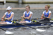 Henley, GREAT BRITAIN. Junior Women's Quadruple Scull. Canford School, leading, Tideway Scullers' School. in their Friday heat. 2012 Henley Royal Regatta. ..Friday  12:18:50  29/06/2012. [Mandatory Credit, Peter Spurrier/Intersport-images]...Rowing Courses, Henley Reach, Henley, ENGLAND . HRR.