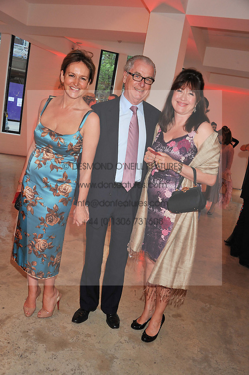 Left to right, CAROLINE MICHEL, LORD BELL and DAISY GOODWIN at a dinner in aid The Journalism Foundation held at Philips De Pury & Company, Howick Place, London, SW1 on 22nd May 2012.