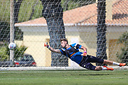 Forest Green Rovers goalkeeper Bradley Collins(1) during the Forest Green Rovers Training session at Browns Sport and Leisure Club, Vilamoura, Portugal on 25 July 2017. Photo by Shane Healey.