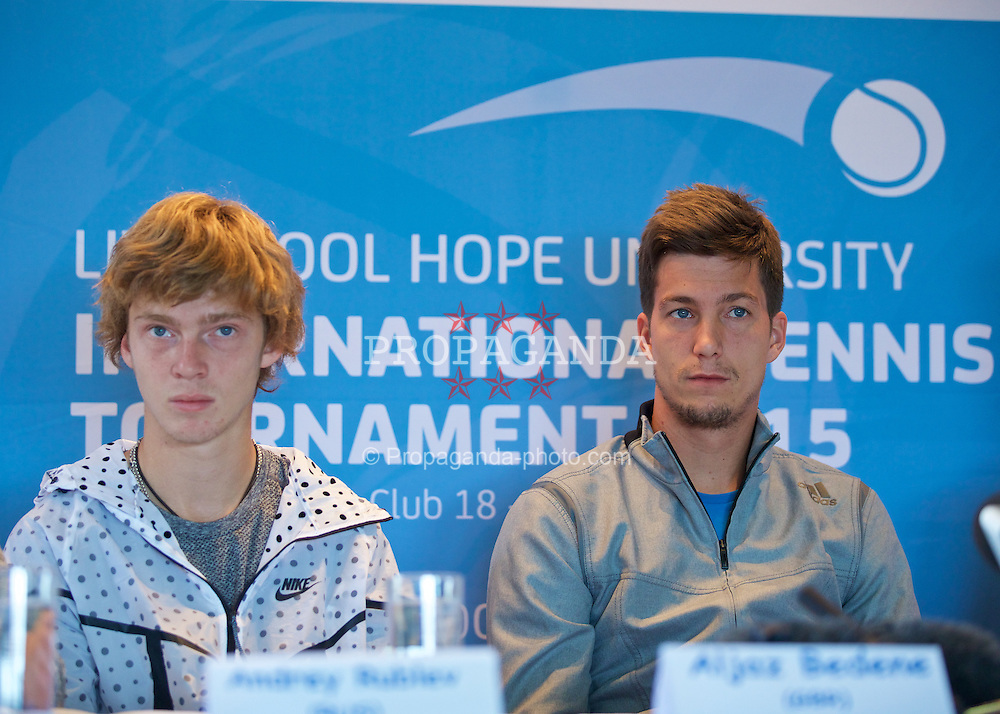 LIVERPOOL, ENGLAND - Thursday, June 18, 2015: Andrey Rublev (RUS) and Aljaz Bedene (GBR) during a press conference on Day 1 of the Liverpool Hope University International Tennis Tournament at Liverpool Cricket Club. (Pic by David Rawcliffe/Propaganda)