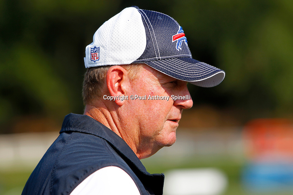 NFL Buffalo Bills Head Coach Chan Gailey looks on during training camp at St. John Fisher College on August 5, 2010 in Pittsford, New York. (©Paul Anthony Spinelli)