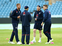 England's Ben Stokes (centre right) with teammates during a nets session at Headingley, Leeds.