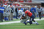 Ole Miss' Tony Conner (12) vs. Presbyterian's Jordan Hallums (17) at Vaught-Hemingway Stadium in Oxford, Miss. on Saturday, November 8, 2014. (AP Photo/Oxford Eagle, Bruce Newman)