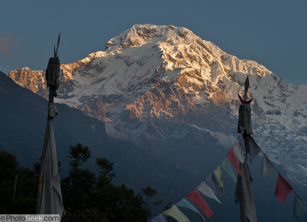 Annapurna South (also known as Annapurna Dakshin, or Moditse; 23,684 feet / 7219 meters), is seen here from Chomrong (or Chhomrung), part of the Himalaya mountain chain, in Nepal.