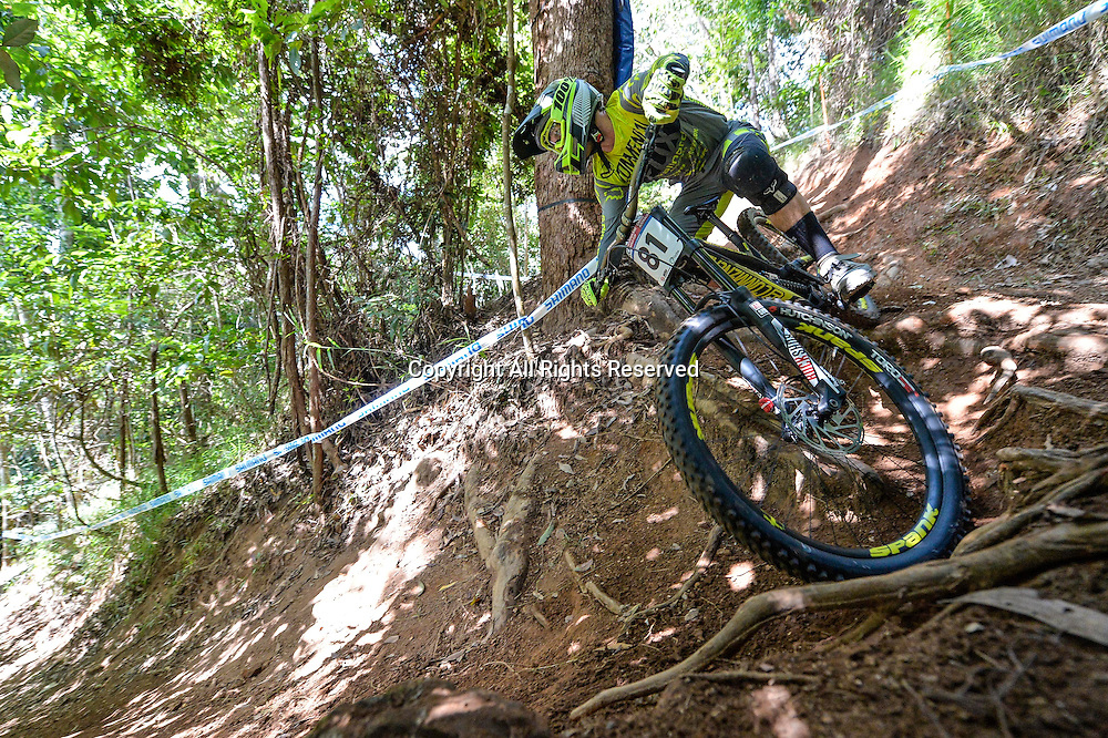22.04.2016. Cairns,Australia. UCI Mountain Bike World Cup. Downhill qualifying. George Brannigan from New Zealand riding for COMMENCAL/VALLNORD.