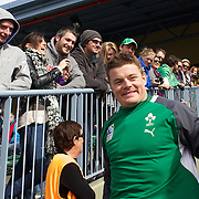 Brian O'Driscoll reacts to  a warm welcome from the crowd at the Irish team training at The Queenstown Events Centre in preparation for the IRB Rugby World Cup. The team are based in Queenstown for the early part of the tournament.  Queenstown, New Zealand, 4th September 2011. Photo Tim Clayton.....