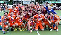 WATERLOO (Belgie) - Vreugde bij Nederland na  de EK finale hockey -21 tussen de mannen van Nederland en Duitsland. (5-2).  FOTO KOEN SUYK