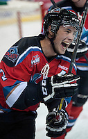 KELOWNA, CANADA - AUGUST 30: Jesse Lees #2 of the Kelowna Rockets celebrates a goal during warm up against the Kamloops Blazers on August 30, 2014 during pre-season at Prospera Place in Kelowna, British Columbia, Canada.   (Photo by Marissa Baecker/Shoot the Breeze)  *** Local Caption *** Jesse Lees;