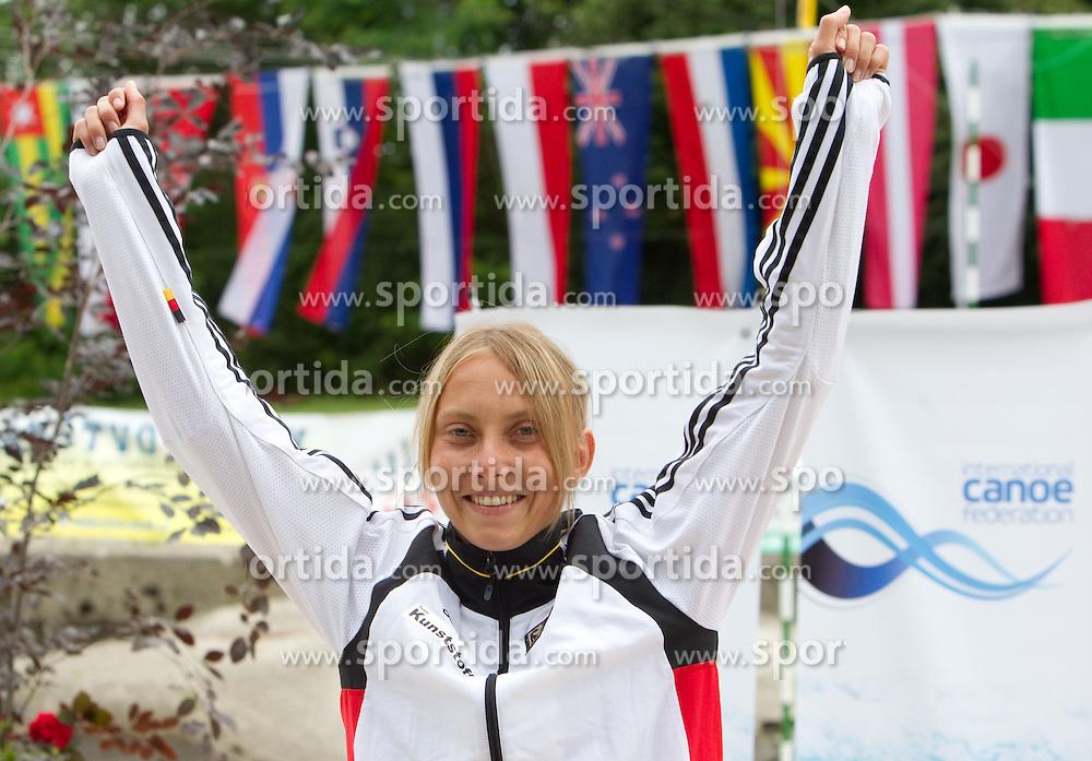 Winner Melanie Pfeifer of Germany at medal ceremony after the Kayak (K1) Women Final race at ICF Canoe Slalom World Cup Sloka 2011, on June 26, 2011, in Tacen, Ljubljana, Slovenia. (Photo by Vid Ponikvar / Sportida)