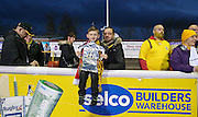 Young Sutton United fan with replica FA Cup before The FA Cup match between Sutton United and Arsenal at Gander Green Lane, Sutton, United Kingdom on 20 February 2017. Photo by Phil Duncan.