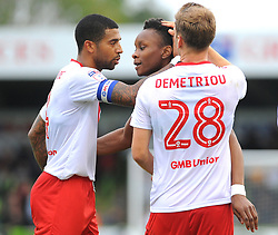 Shawn McCoulsky of Newport County celebrates his goal- Mandatory by-line: NizaamJones/JMP- 14/10/2017 - FOOTBALL - New Lawn Stadium - Nailsworth, England - Forest Green Rovers v Newport County - Sky Bet League Two