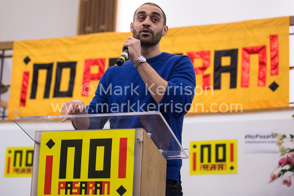 London, UK. 2nd March, 2019. Rapper Lowkey addresses the ¡No Pasaran! Confronting the Rise of the Far-Right conference at Bloomsbury Central.