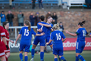 Danni McGinley is congraulatecd by Kayleigh Brough after scoring the third - Forfar Farmington v Jeanfield Girls in SWPL2 at Station Park, Forfar<br /> <br />  - © David Young - www.davidyoungphoto.co.uk - email: davidyoungphoto@gmail.com
