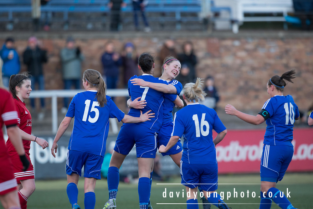 Danni McGinley is congraulatecd by Kayleigh Brough after scoring the third - Forfar Farmington v Jeanfield Girls in SWPL2 at Station Park, Forfar<br /> <br />  - &copy; David Young - www.davidyoungphoto.co.uk - email: davidyoungphoto@gmail.com