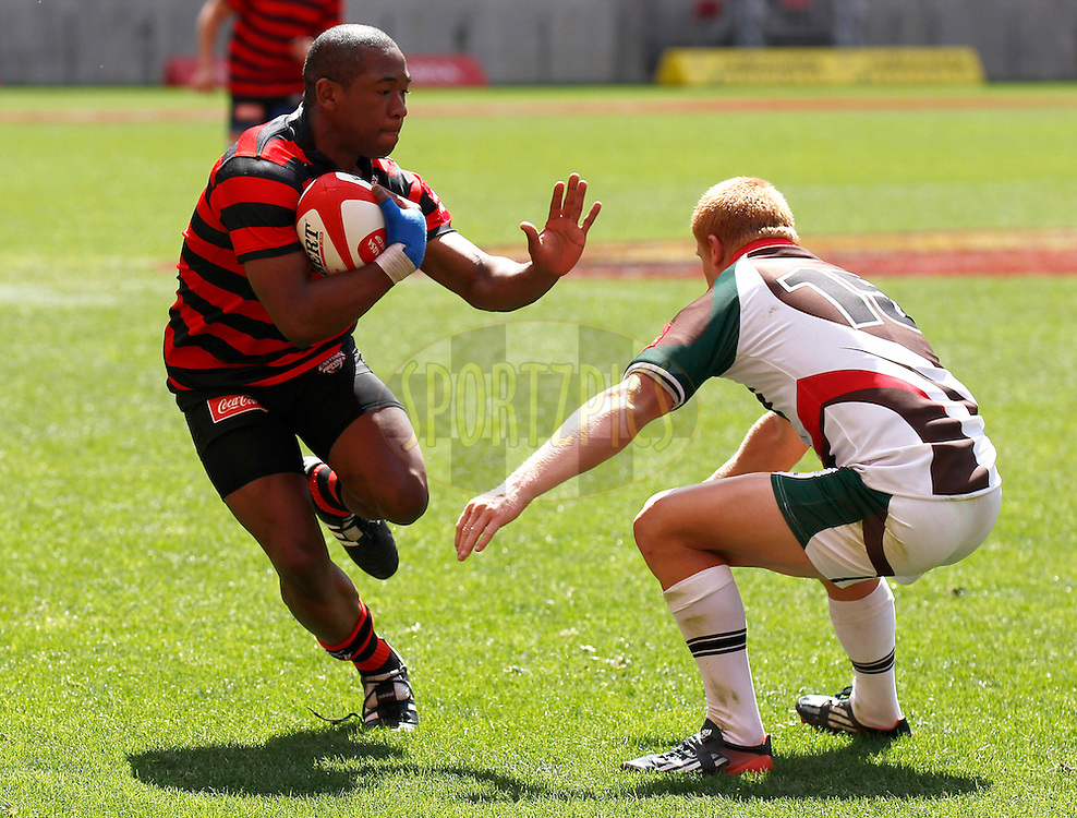 PORT ELIZABETH, SOUTH AFRICA - OCTOBER 13, Sergeal Peterson of the EP Kings during the Absa Division B U19 final match between EP Kings and Border Bulldogs at Nelson Mandela Bay Stadium on October 13, 2012 in Port Elizabeth, South Africa.Photo by Micheal Sheehan / Gallo Images