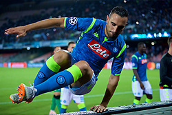 NAPLES, ITALY - Wednesday, October 3, 2018: Napoli's Nikola Maksimović jumps over the advertising hoardings to celebrate with supporters during the UEFA Champions League Group C match between S.S.C. Napoli and Liverpool FC at Stadio San Paolo. (Pic by David Rawcliffe/Propaganda)