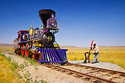 350307-1012B ~ Copyright:  George H. H. Huey ~ Replica locomotive, 'Jupiter' and switch.  Golden Spike National Historic Site, Utah.