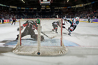 KELOWNA, CANADA - FEBRUARY 8: Mark Liwiski #9 of the Kelowna Rockets scores the tie breaker fourth goal during third period against Tyler Brennan #1 of the Prince George Cougars  on February 8, 2019 at Prospera Place in Kelowna, British Columbia, Canada.  (Photo by Marissa Baecker/Shoot the Breeze)