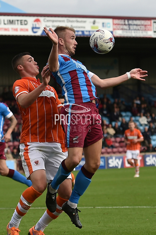 Paddy Madden takes the ball in the goal area during the Sky Bet League 1 match between Scunthorpe United and Blackpool at Glanford Park, Scunthorpe, England on 5 September 2015. Photo by Ian Lyall.