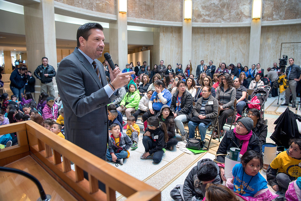em030117h/a/Santa Fe Mayor Javier Gonzales speaks during a rally for early childhood education at the Roundhouse in Santa Fe Wednesday March 1, 2017. Around 300 kids plus may educators and parents showed up to march and rally in support for Pre-K kids and their providers. The rally was organized by Catholic Health Iniatives.  (Eddie Moore/Albuquerque Journal