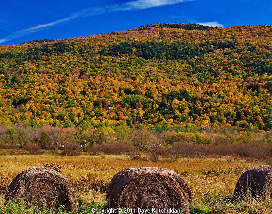Vibrant fall colors in the Green MT national Forest with Jelly Rolls (hay)in the foreground and a freight train traveling south, between them between, MT Tabor, VT