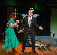 """May"" Jessica McDermott and ""Horace"" Taylor Gagne two mayflies at the pond just realize their lifespan of one day is half over during Laconia High School dress rehearsal for the one act play ""Time Flies"" on Monday afternoon.  (Karen Bobotas/for the Laconia Daily Sun)"