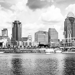 Cincinnati skyline panoramic picture in black and white with Great American Ballpark, Great American Insurance Group Tower, PNC Tower building, Omnicare building, US Bank building, Carew Tower building, Scripps Center building, US Bank Area, and Roebling Bridge. Panoramic picture ratio is 1:3. Photo Copyright © 2012 Paul Velgos with All Rights Reserved.
