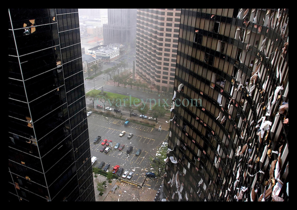 29th August, 2005. Hurricane Katrina hits New Orleans, Louisiana. The tail end of Katrina rages outside the 25th floor of the Hyatt Hotel in downtown New Orleans.