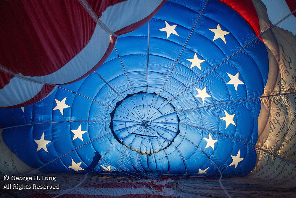Inside pilot Mark Fritze's hot air balloon, Freedom Flyer, at Montgolfiere; Saint-Jean-sur-Richelieu, Quebec, Canada