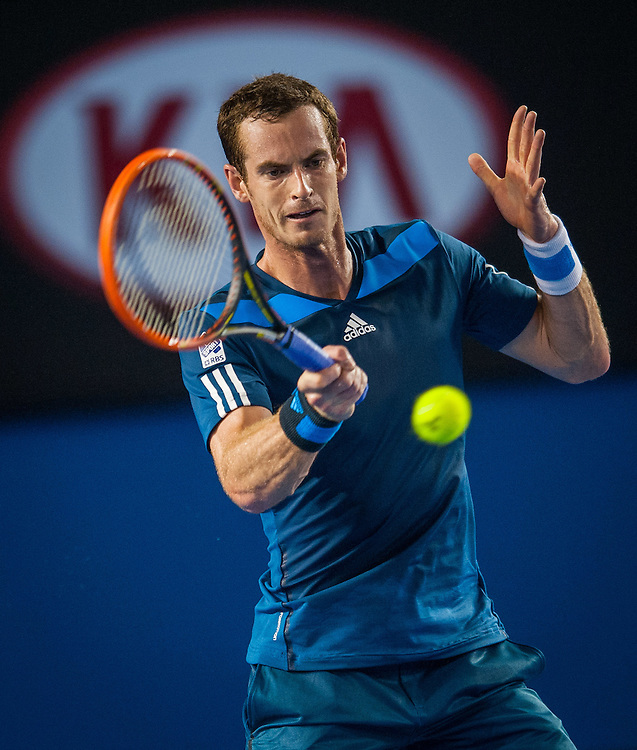 Andy Murray (GBR) won over V. Millot (FRA) 6-2, 6-2, 7-5 in Day 4 play at the 2014 Australian Open in Melbourne.