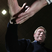 Rep. Richard Gephardt (D-MO) campaigns with Scott County Democrats Saturday, January 17, 2004, in Davenport, Iowa.  Celebraties supporting Gephardt include singers Michael Bolton and Chuck Berry...Photo by Khue Bui