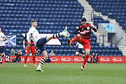 Preston North End Midfielder Paul Gallagher challenges during the Sky Bet Championship match between Preston North End and Queens Park Rangers at Deepdale, Preston, England on 19 March 2016. Photo by Pete Burns.