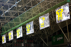 Posters of Uros Serbec, Jure Koren, Vlado Bojovic, Tomaz Tomsic and Renato Vugrinec during ceremony after the handball match between RK Celje Pivovarna Lasko and Trimo Trebnje of last Round of 1st Slovenian Handball league, on May 27, 2011 in Arena Zlatorog, Celje, Slovenia. Celje defeated Trimo 32-28 and win 3rd place in Slovenian National Championship. (Photo By Vid Ponikvar / Sportida.com)